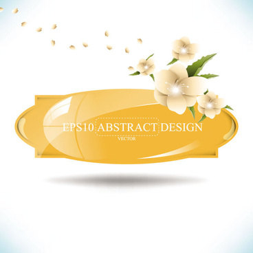 abstract foliage8 flowers vector labels