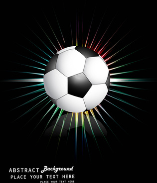 abstract football bright black blue colorful rainbow rays vector