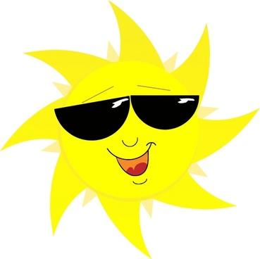 abstract funny yellow sun with sunglasses