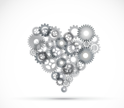 abstract gear heart vector background