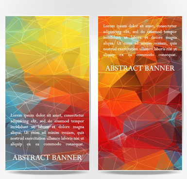 abstract geometric shapes vertical banners vector