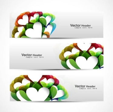 decorative banner templates colorful modern hearts shapes