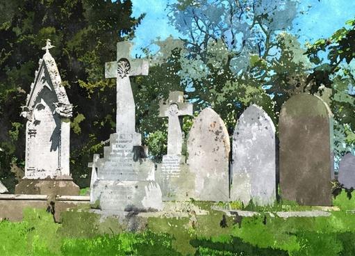abstract gravestones