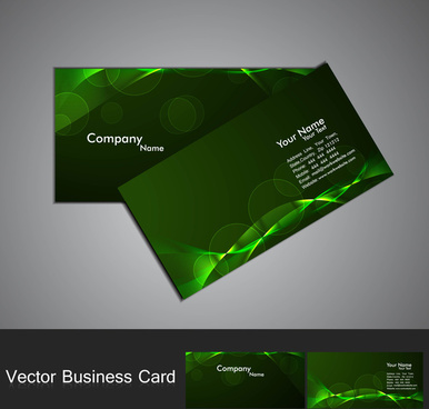 abstract green bright colorful line wave professional business card vector