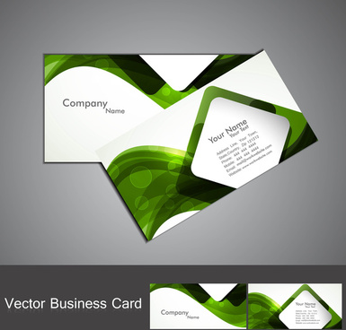 abstract green colorful wave marketing business card set illustration