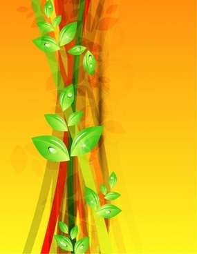 Abstract Green Floral Vector Background