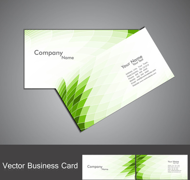 abstract green mosaic colorful wave business card set vector