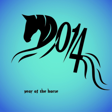 abstract horse14 new year background vector