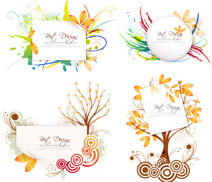 abstract leaf border vector