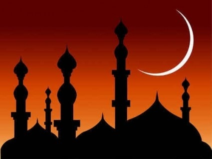 abstract mosque night background vector