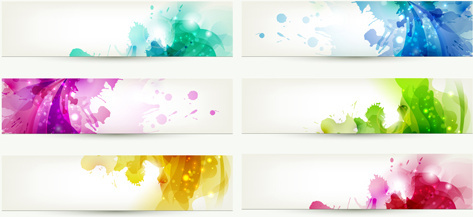 abstract of colorful flowers banners vector