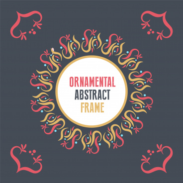 abstract ornamental frame on dark background trendy craft style background