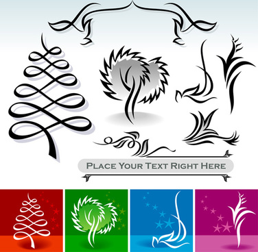 abstract ornaments tree vector graphics