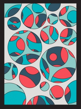 abstract painting colorful flat circles ornament