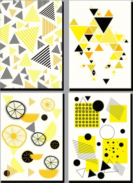 abstract painting sets yellow decor geometric design