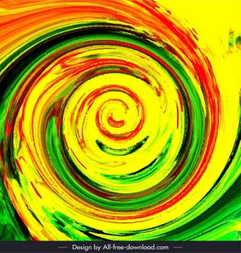 abstract painting spiral twisted shape retro colorful grunge
