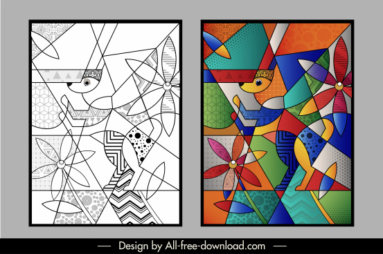 abstract paintings colorful animal flower sketch polygonal design