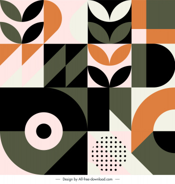 abstract pattern template colored flat shapes decor