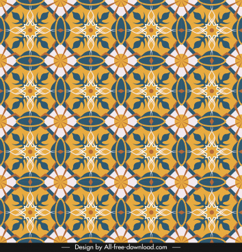 abstract pattern template colorful retro repeating symmetric sketch