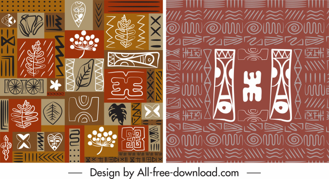 abstract pattern templates flat retro ethnic handdrawn design