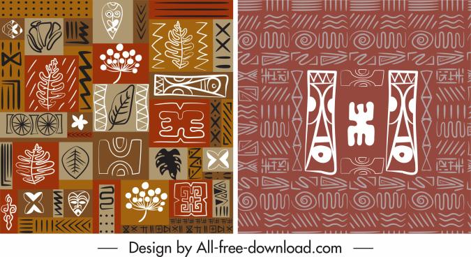 abstract pattern templates flat retro ethnic handdrawn design