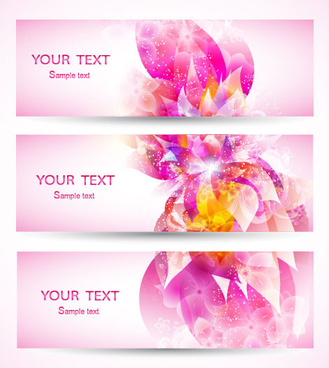 abstract petal elements banner vector