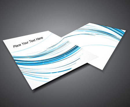 abstract professional business brochure blue line wave design vector