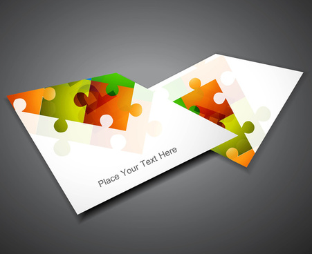 abstract puzzle set of business brochure colorful vector design