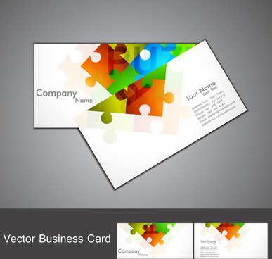 abstract puzzle set of business card colorful vector