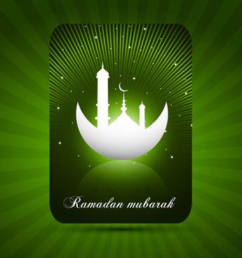 abstract ramadan kareem green bright colorful card vector illustration
