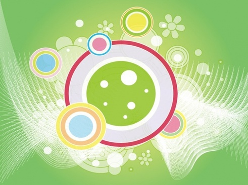 abstract green background colorful circles and curves decoration