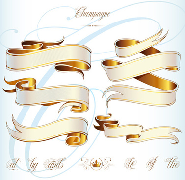 abstract ribbon golden vector