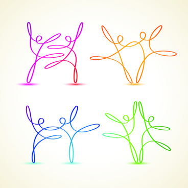 abstract ribbon people colored vector