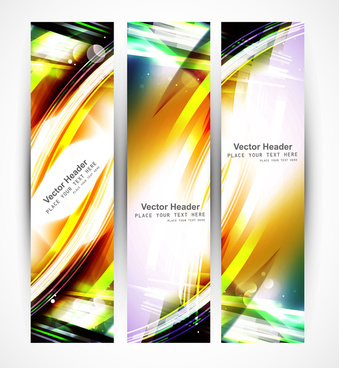 abstract set of header colorful wave whit vector