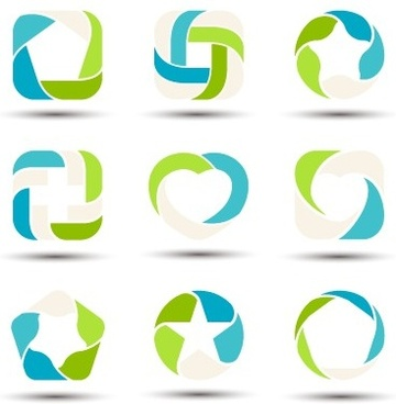 abstract shapes colored logos vector