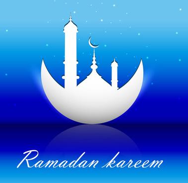 abstract shiny colorful blue ramadan kareem vector