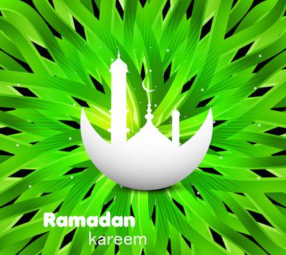 abstract shiny colorful green ramadan kareem texture vector