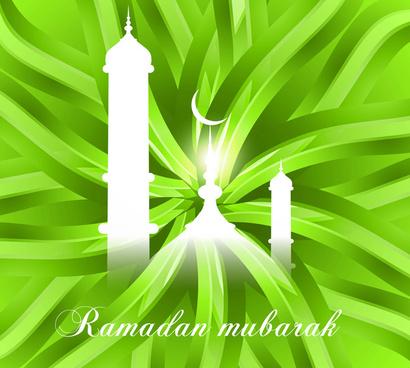 abstract shiny colorful green ramadan kareem vector background