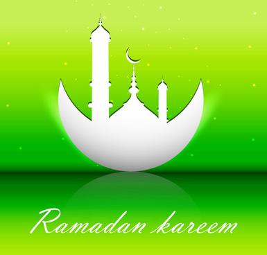 abstract shiny colorful green ramadan kareem vector design