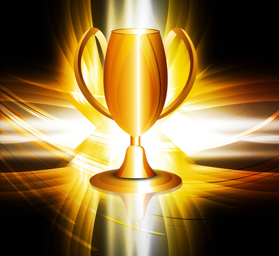 abstract shiny golden trophy colorful vector design