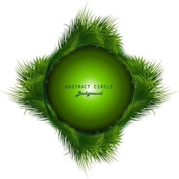 abstract shiny green grass colorful swirl circle vector design