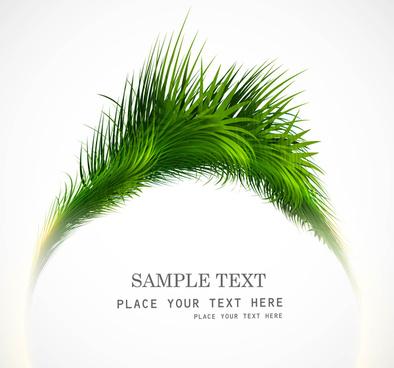 abstract shiny green grass vector circle frame illustration