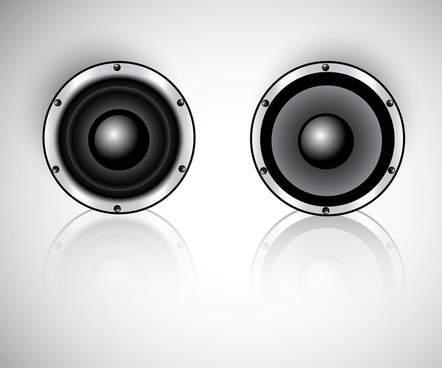 abstract shiny music speaker set reflection vector