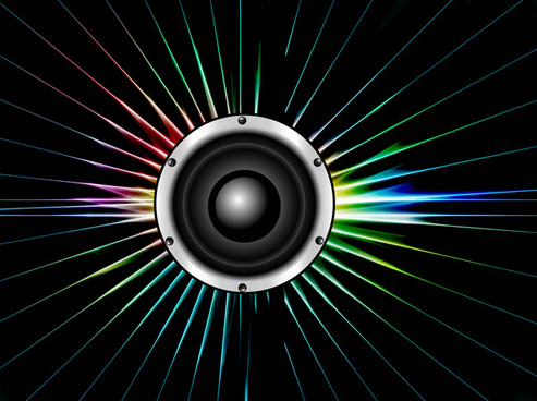 abstract speaker colorful line with swirl glowing lights vector