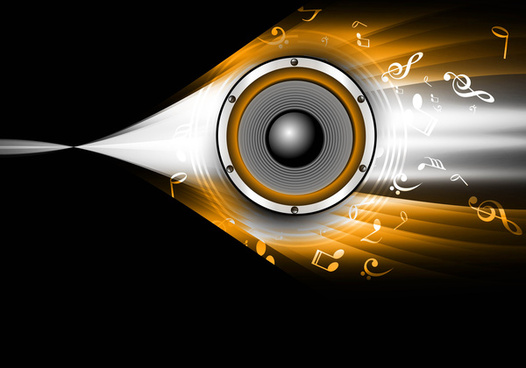 abstract speakers black bright background wave vector illustration