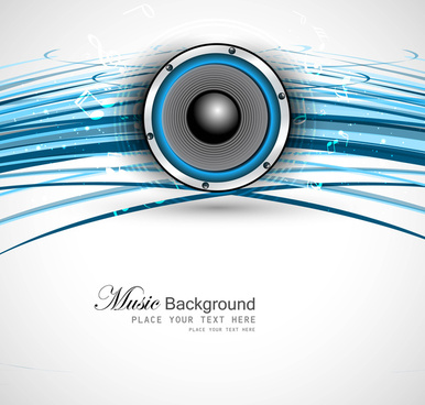 abstract speakers blue line wave background vector