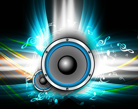 abstract speakers bright background colorful wave music notes vector illustration