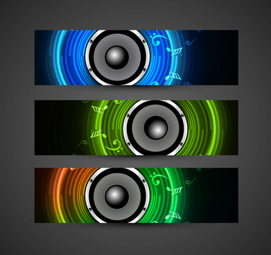 abstract speakers colorful header vector illustration