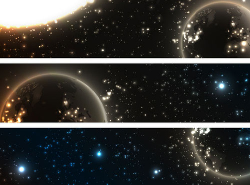 abstract starry sky vector banner