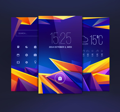 abstract style mobile interface theme vector